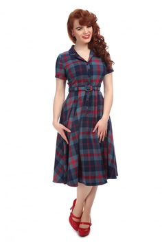 Collectif Vintage Caterina Merida Check Swing Dress