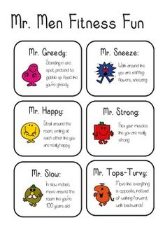 Mr Men fitness fun - A fun fitness game to get kids moving Eyfs Activities, Physical Activities, Physical Education Games, Class Activities, Mr Men Little Miss, Mens Fitness, Fitness Fun, Fitness Motivation, Pe Lessons