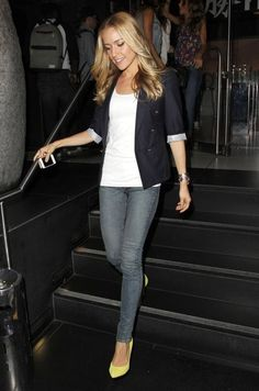 Simple Date Night Outfit Idea: Kristin Cavallari's Navy Blazer and Bright Heels