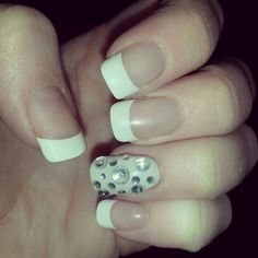 Mani with bling ♡
