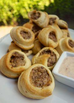 Taco Crescents - ground beef. taco seasoning. cream cheese. cheddar. crescent rolls