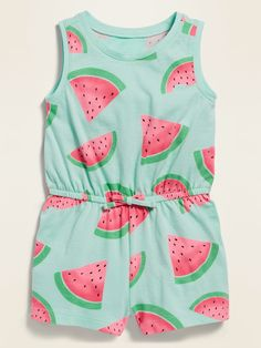Sleeveless Printed Jersey Romper for Baby Old Navy Toddler Girl, Toddler Girl Style, Toddler Girl Outfits, Toddler Fashion, Girls Summer Outfits, Little Girl Outfits, Little Girl Fashion, Kids Outfits, Watermelon Outfit