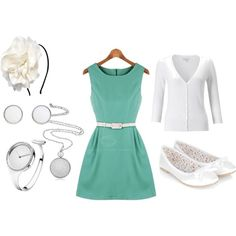 ✿ Outfit #5: turquoise green dress with white belt, white cardigan, white shoes, silver earrings and watch and necklace, cute hairband with flowers ✿