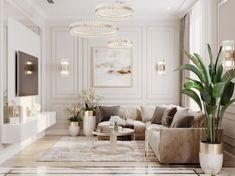 ไอเดียห้องนั่งเล่น Luxury Style : โทนสีขาวครีม Decor Home Living Room, Interior Design Living Room, Living Room Designs, Living Room Decorations, Classic Living Room, Elegant Living Room, Neoclassical Interior Design, Sala Grande, Home Room Design