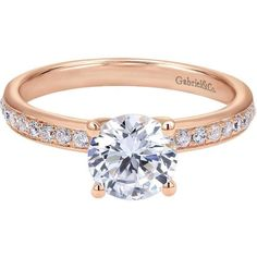 ER7537K44JJ 14K Rose Gold Diamond Solitaire Engagement Ring from... ❤ liked on Polyvore featuring jewelry, rings, 14k diamond ring, diamond jewelry, 14k engagement ring, diamond engagement wedding rings and engagement rings