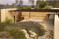Location: Napa Valley, USA Year: 2009 Architects: Steven Harrison Materials: rammed earth, wood Landscape: Blasen Landscape Architecture Photography: Marion Brenner Via: ASLA Garden Structures, Outdoor Structures, Dog Trot House, Rammed Earth Homes, Wooded Landscaping, Outdoor Play Areas, Dry Garden, Outdoor Curtains, Outside Living