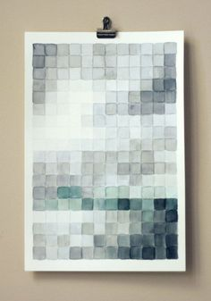 """super sweet pixel wall decor in similar palette Bet u could use a 1"""" square punch and paint sample chips"""
