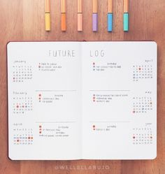 Pin to save for later! The cutest bullet journal ideas. The future log in your bullet journal gives you a yearly overview of the year. See how to set up a bullet journal future log or use my free PDF pritnable. Future Log Bullet Journal, List Of Bullet Journal Pages, Bullet Journal Notebook, Bullet Journal Inspo, Bullet Journal Spread, Bullet Journal Layout, Bullet Journal Year At A Glance Ideas, Bullet Journal Yearly Calendar, Types Of Bullet Journals