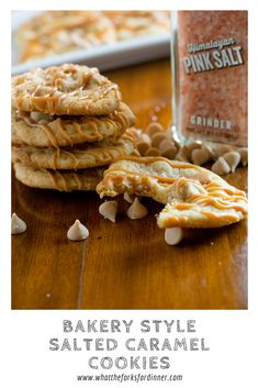 Bakery Style Salted Caramel Cookies- Baked salted caramel chip cookies that are slightly crispy and chewy with the perfect amount of sweet and salty!!