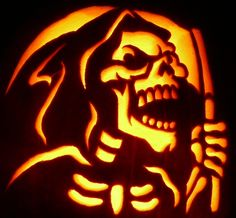 Carved Pumpkin- The Grim Reaper. Pattern by zombiepumpkins.com