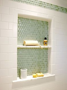 Alleviating the need for space-hogging corner consoles, these shower cubbies are awesome! Be sure to visit our board Bathroom Envy for more!