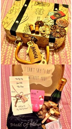 DIY Bridal Entourage Proposal. #vintage #ido #bridalebtourage #creative #love #weddings #bridesmaids #maidofhonor #diy #love #personalized #handmade For more info inquire at www.littlefierceone.com