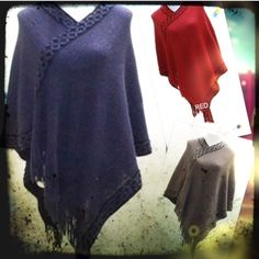 MORE CUTE PONCHOS! Lightweight acrylic ponchos with fringe detail front. A staple for every closet! BLUE, RED OR TAUPE. PLEASE DO NOT BUY THIS LISTING! I will personalize one for you. SPECIFY COLOR. ONE SIZE FITS UP TO 16. tla2 Jackets & Coats