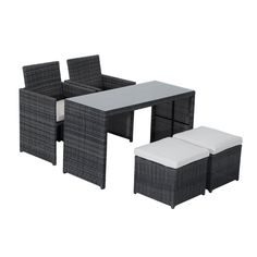 Outsunny 5-Piece Outdoor Rattan Wicker Furniture Set. Modern 5-piece outdoor furniture set offers stylish and comfortable lounging at its best. Built with a rust-resistant steel frame with durable, weather-resistant PE rattan wicker for years of use. Zippered cushions filled with thick material for optimal comfort and relaxation. Washable cushion covers made from outdoor waterproof polyester cloth for easy cleaning. Dining table features 5mm tempered glass that's been toughened for safety...