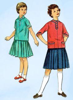 1950s Vintage Simplicity Sewing Pattern 1252 Uncut Girls 2 Piece Dress Size 8