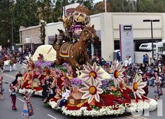 American Armenian Rose Float Association's 'Field of Dreams!' float, winner of the Past Presidents Trophy, makes its way down Colorado…