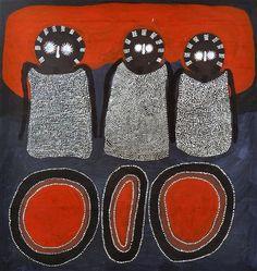 JACK DALE MENGENEN (CIRA Wandjinas and Jalala (Marking Stones) acrylic and natural earth pigments on canvas artist's name inscrib. Aboriginal Painting, Aboriginal Artists, Dot Painting, Australian Painters, Australian Artists, Earth Pigments, Aboriginal Culture, Indigenous Art, Natural Earth