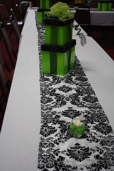 Black & White damask and lime green wedding shower theme.