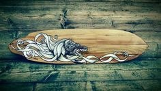 Balinese teakwood custom longboard deck. Built by an experienced temple builder. Artwork done in proferessional acrylics by Wouter Haine of www.Lowlanderz.com (for sale). This one is for wallart only. Check the site for superb ridable decks. Or make a request for your own custom