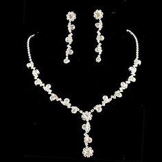 Wedding Bridal Bridesmaid Crystal Necklace Earrings Jewelry Set  – USD $ 7.99