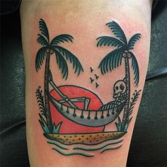 (notitle) - Tats I like - Sunset Tattoos, Palm Tattoos, Dope Tattoos, Badass Tattoos, Leg Tattoos, Sleeve Tattoos, Traditional Tattoo Filler, Traditional Tattoo Inspiration, Traditional Style Tattoo