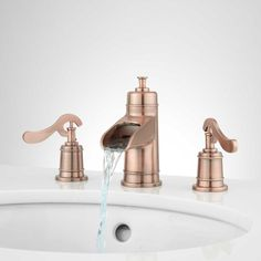 Signature Hardware 932622 Melton 1 2 Gpm Widespread Bathroom Faucet With Pop Up Copper Lavatory