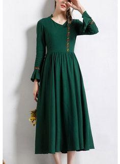 Linen stałe długim rękawem połowy łydki casual sukienki