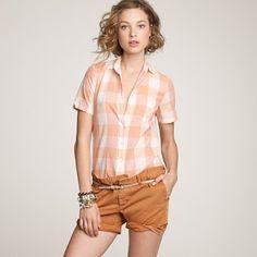 sudden desire for a soft colored gingham shirt... so feminine.