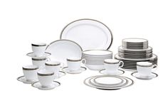 Austin Platinum dinnerware from Noritake brings sophisticated, understated elegance to your table. This stunning pattern features crisp white porcelain accented with bands of platinum, black and platinum dots and finished with an etched platinum band. Square Dinnerware Set, Dinnerware Sets, Gourmet Garden, Casual Dinnerware, Elegant Dining, Dinner Sets, Noritake, Fine China, White Porcelain