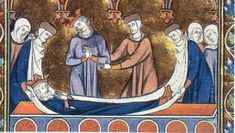 King David is lowered into a tomb, while his son Solomon watches (From a Medieval Manuscript. Medieval Manuscript, Medieval Art, Medieval Times, Renaissance, Writing Fantasy, Fantasy Story, Fiction Writing, Writing Advice, Writing Help
