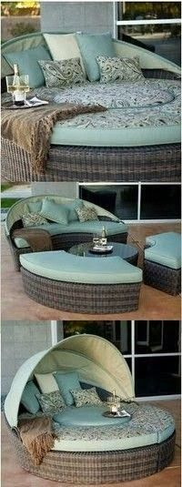 Canopy bed transforms into benches and coffee table!