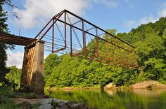 The old one lane Settles Bridge over the Chattachoochee River, Gwinnett County, Georgia. Reportedly abandoned in the fifties. The roadway was planked with timbers. The steel thru truss was left in place. Inspired a few place names around my area!