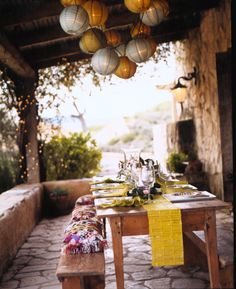 Sunstone Winery Porch set for private luncheon. Photo by photographer Shelly Strazis