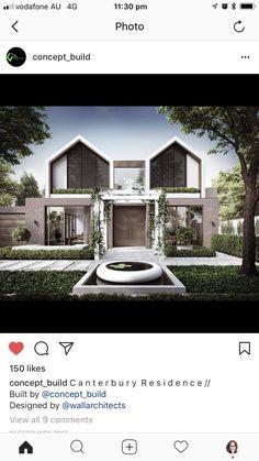 Japanese Modern House, Modern Tropical House, Contemporary House Plans, Modern House Design, Facade Design, Exterior Design, Townhouse Exterior, Townhouse Designs, 3d Home