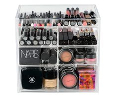 """This gorgeous Lucite makeup organizer features 4 drawers with removable dividers. DIMENSIONS: 10"""" L x 7"""" W x 9 1/2"""" H TOP DRAWER: 1"""" DEEP MIDDLE DRAWERS: 2 1/4"""