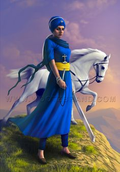 in Sikhism girls and boys are treated equally. Sikh women commanders led men into battle 350 years. Ek Onkar, Ancient Indian History, Sikh Quotes, Nanak Dev Ji, Guru Gobind Singh, Warrior Outfit, Punjabi Culture, Poetry Art, Indian Art Paintings