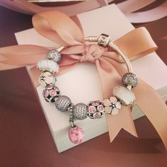 50% OFF!!! $279 Pandora Charm Bracelet Pink White. Hot Sale!!! SKU: CB01936 - PANDORA Bracelet Ideas