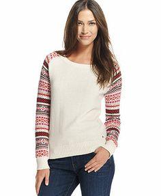 Tommy Hilfiger Long-Sleeve Fair-Isle Colorblock Sweater