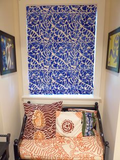 Having trouble finding a fabric that you want to use for a window treatment?  Create your own custom hand painted shade with a Wallovers design that you love in whatever colors you want!  This one is done with a Mama Natalie stencil, and the profits even went back to help an amazing family in Rwanda!