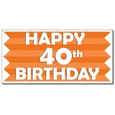 Happy Birthday Orange Stripes x Vinyl Banner - relationships gift Happy 80th Birthday, Happy 40th, Birthday Ideas, Spa, Quick Quotes, Vinyl Banners, White Vinyl, Banner Design, Orange