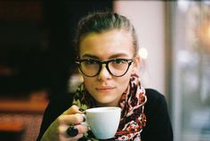 Glasses + scarf + coffee = happiness.