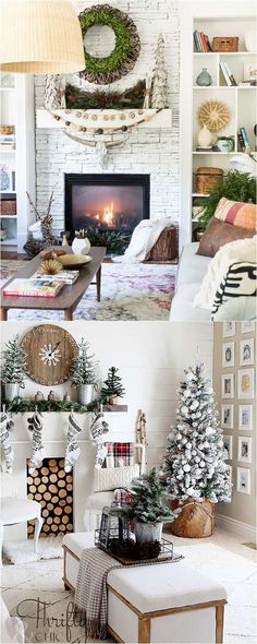 Christmas fireplace: 100+ Favorite Christmas decorating ideas & DIY Christmas decorations for every room, from the best Christmas home tours! Lots of great tips to apply to your own home easily! A Piece of Rainbow