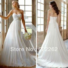 Stock Us 4 6 8 10 12 14 Elegant Beach Sweetheart Sleeveless Beading Pleat Chiffon Wedding Dresses 2013 Free Shipping $99.85
