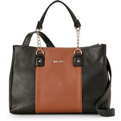 Nine West Black & Truffle Busy Body Colorblock Satchel ($30) ❤ liked on Polyvore featuring bags, handbags, black, leather satchel purse, color block leather handbags, genuine leather handbags, leather handbags and nine west handbags