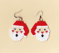 Beaded Santa Earrings | NativeWorksJewelry.com