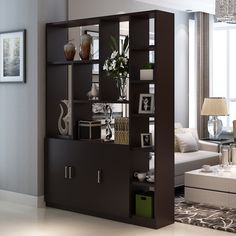 Interior Living Room Design Trends for 2019 - Interior Design Room Partition Wall, Living Room Partition Design, Room Divider Shelves, Room Partition Designs, Living Room Divider, Living Room Storage, Interior Design Living Room, Living Room Designs, Pooja Room Design