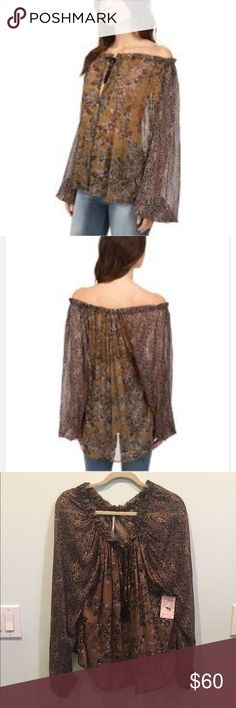 Free People Hendrix off the shoulder blouse Stunning top!  Chic florals are featured on a lightweight chiffon fabric. Drawstring cords at the collar allows for versatile wear. Long raglan sleeves with gathered cuffs. Gorgeous mother of pearl buttons. Free People Tops Blouses