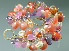 Statement Bracelet - Boro Borosilicate Lampwork Glass Beads- Amethyst - Pink Chalcedony - Peach Moonstone - Keishi Pearls - Gold on Etsy, $422.00