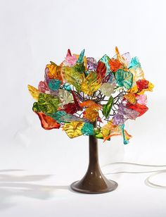 Table lamp modern bedside lamp desk lamp with multicolored flowers a leaves and metal wires lighter for desk or bedside table Unique Table Lamps, Cool Tables, Bedside Table Lamps, Desk Lamp, Beaded Ornament Covers, Room Lamp, Leaf Flowers, Light Table, Decorative Bowls