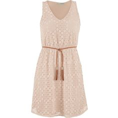 maurices Lace Dress With Faux Suede Braided Tie Belt ($39) ❤ liked on Polyvore featuring dresses, vestidos, beige, beige lace dress, maurices dresses, lace cocktail dress, pink dress and beige dress